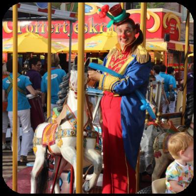 Clown Anka op de kermis in Goirle op 29 juli 2015
